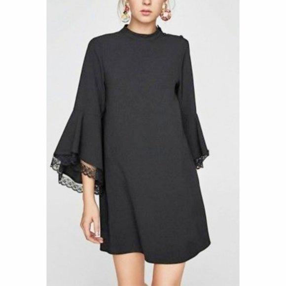 ZARA Black Dress Lace Bell Sleeves